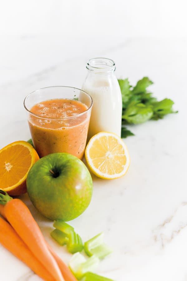 smoothie lait d'épeautre pomme carotte