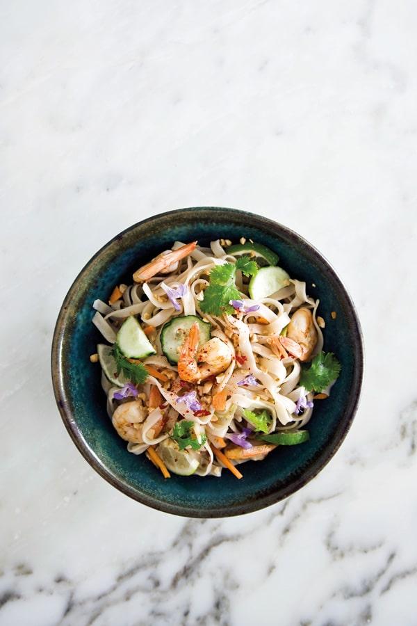 nouilles riz crevettes recette